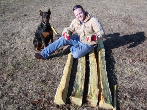 Brent, staves, and Macy the doberman
