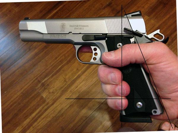 1911 pistol grip angle